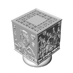 ((맞춤상품)) 아담한 크기의 3D라이트-입체사각형(소)리쏘페인 무드등 스탠드(이미지+음성모듈+USB충전/티라이트)
